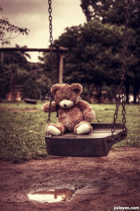 teddy plays on the swing playing alone picture by sekihara for teddy bears