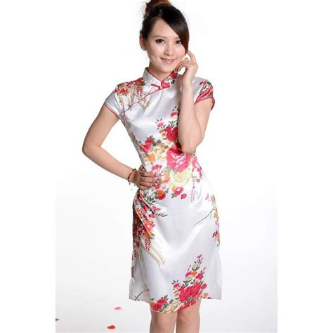 white satin floral print cheongsam satin products and