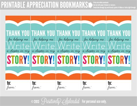 thank you bookmark template appreciation bookmarks