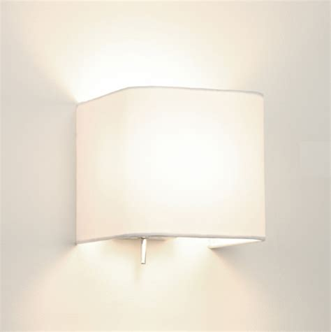 White Wall Lights Ashino 0766 Square Wall Light With White Fabric Shade
