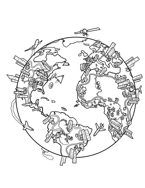 map of the world coloring page for kids