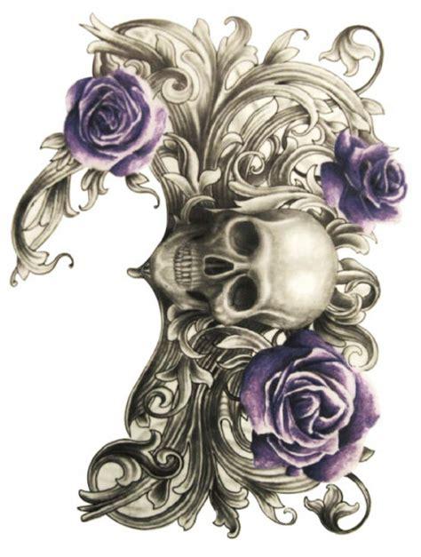 Tengkorak Biru 1 2 pcs mawar biru tato temporer tengkorak tato tatuagem
