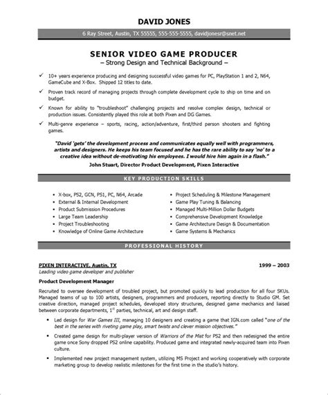 producer free resume sles blue sky resumes