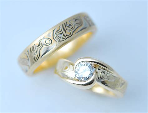 Hand Made Custom Mokume Gane Two Ring Wedding Set by