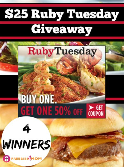 Can I Use A Ruby Tuesday Gift Card Anywhere Else - 25 ruby tuesday giveaway print your bogo 50 off coupon