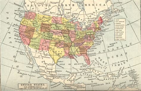 united states and central america map map of the united states of america also showing much of
