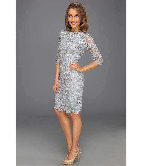 Sleeve Lace Sheath Dress lyst eliza j 3 4 sleeve lace sheath dress in gray