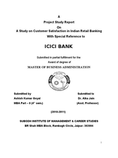 Mba Marketing Project On Icici Bank by Ashish Project Report On Icici Bank Reserve Bank Of