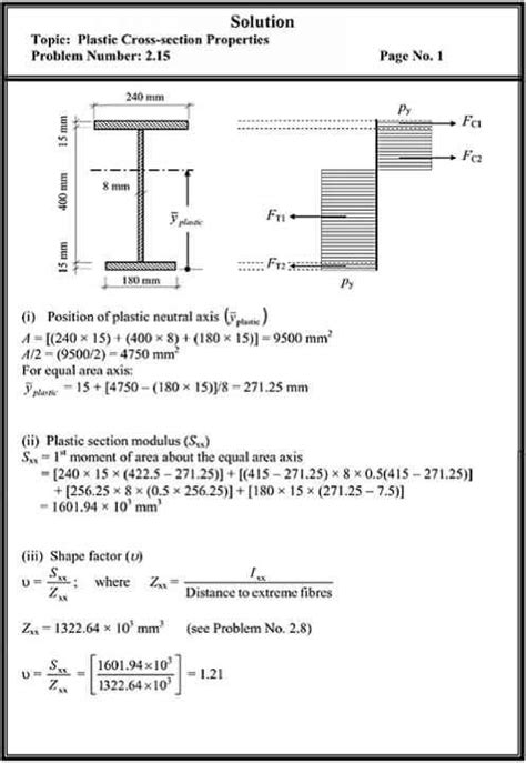 i beam section modulus problems plastic crosssection properties structural analysis
