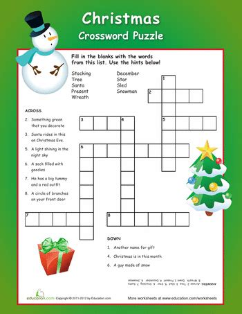 free printable christmas activities for fourth graders crossword puzzle crossword worksheets and