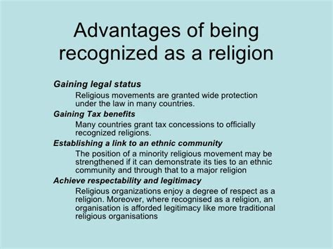 9 Advantages Of Being by Advantages Of Being Recognized As A Religion