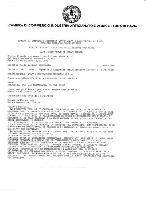 di commercio registro delle imprese sclavi costruzioni generali
