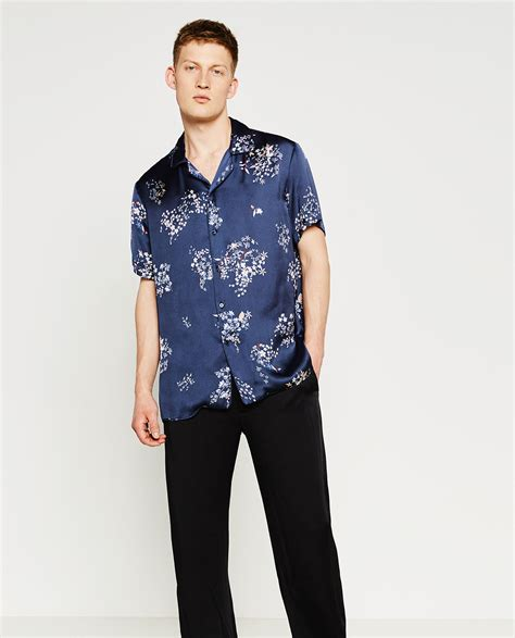 Zara Shirt Flower zara printed floral shirt in blue for lyst