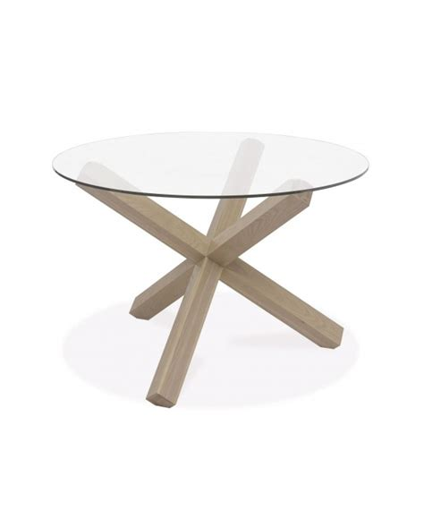 Glass Top Circular Dining Table Turin Dining Table Circular Glass Top Aged Oak