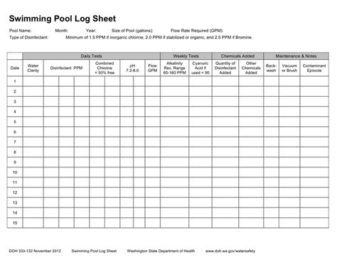 Swimming Pool Chemical Log Sheet In Word And Pdf Formats Swimming Pool Maintenance Checklist Template