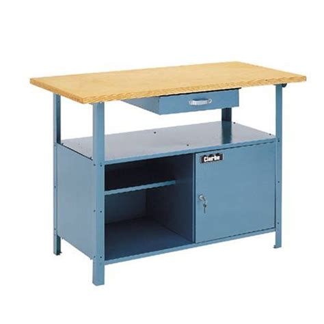 cheap work benches clarke workbench 1 drawer steel with wood top cwb1250