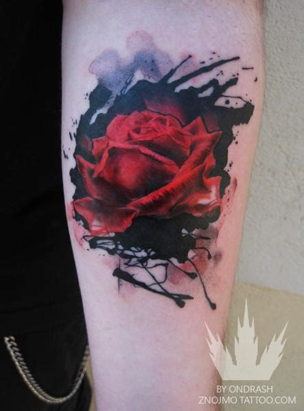 water colour rose tattoo an abstract watercolor of a flower by
