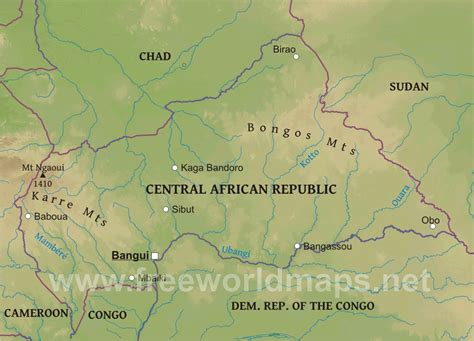 physical map of central africa ubangi river africa