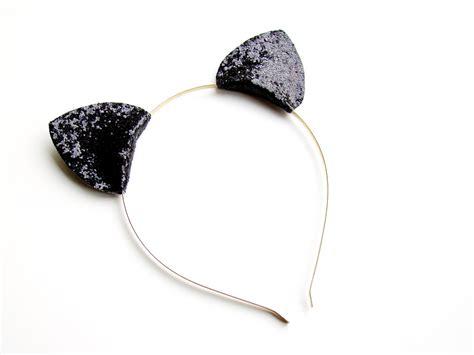 ears headband cat ears headband glitter cat ears by victoriasclass on etsy