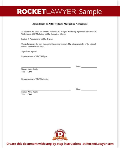 Contract Amendment Letter Contract Amendment Form Template With Sle