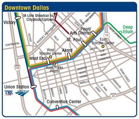 map of downtown dallas texas dart org downtown dallas maps and routing of buses