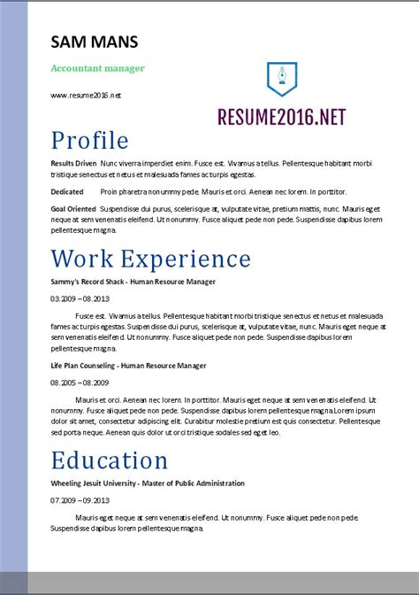 Resume Templates For Pages 2016 Accountant Resume Sle 2016