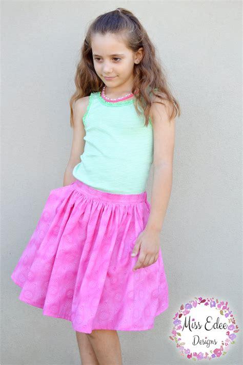 pattern emporium gathered skirt pattern girls flat front gathered skirt pdf sewing