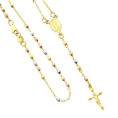 cadena gucci 3 oros hermoso rosario con cadena de oro amarillo y cuentas de 3