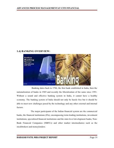 Citi Consumer Banking Mba Program by Advances Process Managementat Citi Financial Mba Project