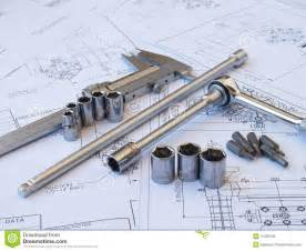 blueprint tool engineering tools on technical drawing royalty free stock