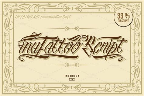 tattoo fonts vector inutattoo script poster vector script fonts creative