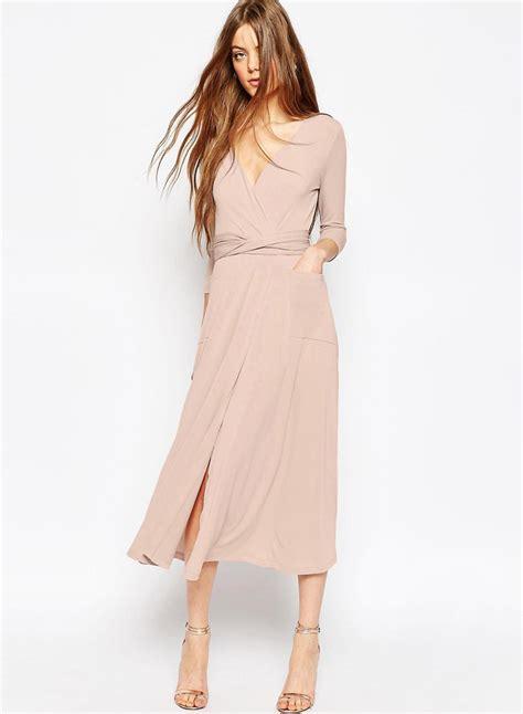 Slit Midi Dress by S Solid V Neck 3 4 Sleeve High Slit Midi Dress