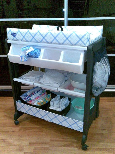 Portable Baby Changing Table With Wheels And Attached Baby Change And Bath Table
