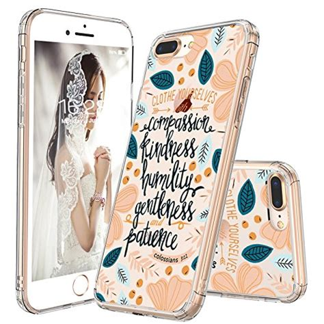 iphone 8 plus iphone 7 plus clear mosnovo floral flower quote clear design back