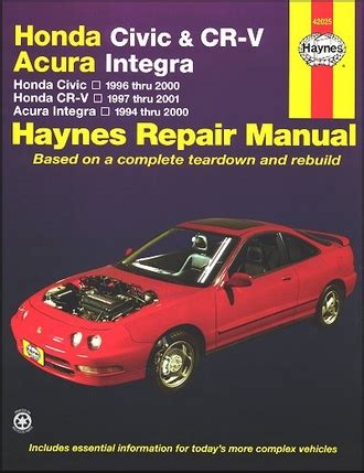 car repair manuals online free 1997 honda civic instrument cluster honda civic cr v integra repair manual 1994 2001 haynes 42025