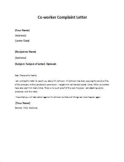 Complaint Letter On Co Worker Co Worker Complaint Letter Cover Letter Sle 2017