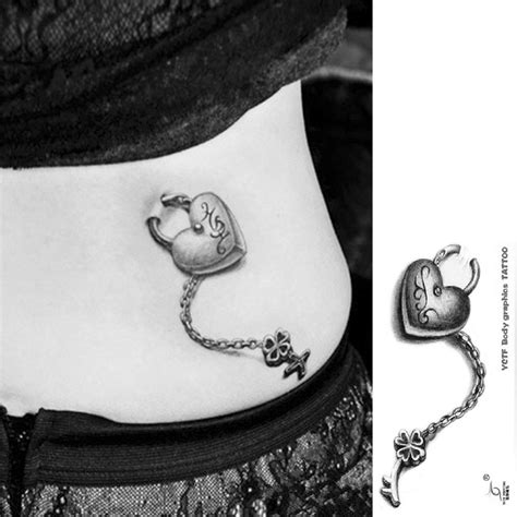 tattoo waist designs temporary waist tattoos designs 3d lock chain high quality