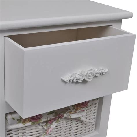 white cabinet with baskets white cabinet with 1 drawer and 2 baskets wood vidaxl co uk