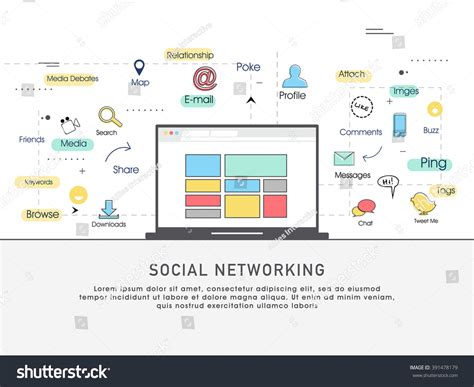 layout social network one page web design template line stock vector 391478179