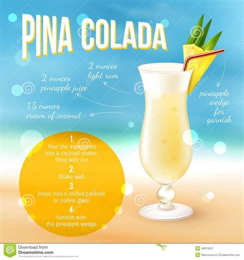 cocktail recipes poster cocktail recipe poster stock illustration image 49819347