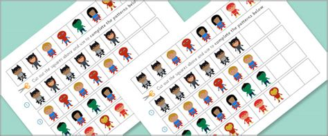 pattern activities early years superhero worksheets complete the pattern free early
