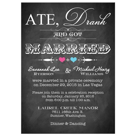 Post Wedding Invitation   Chalkboard   Scrolls   Pink and Blue Hearts