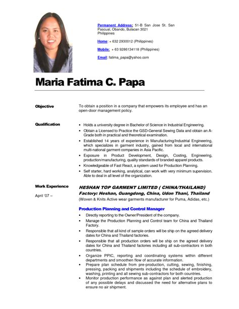 Sle Of Resume Letter In The Philippines Philippines Resume Sle Resumes Design