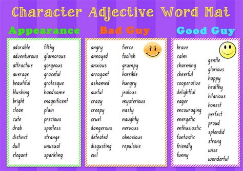 Word Mat by Character Adjective Word Mat This Is A Resource That I