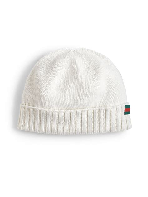 white knitted beanie hat gucci beanie hat in white for lyst