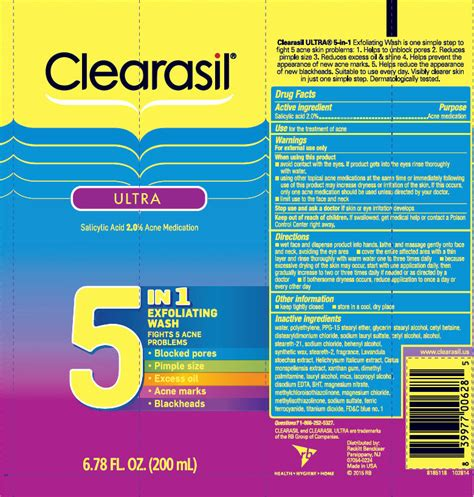 Label Ultra 200ml Dinosaur clearasil ultra 5 in 1 exfoliating wash solution reckitt