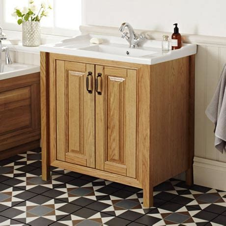 Wooden Bathroom Furniture Uk Grenville American Oak Solid Wood Vanity Unit Available Now