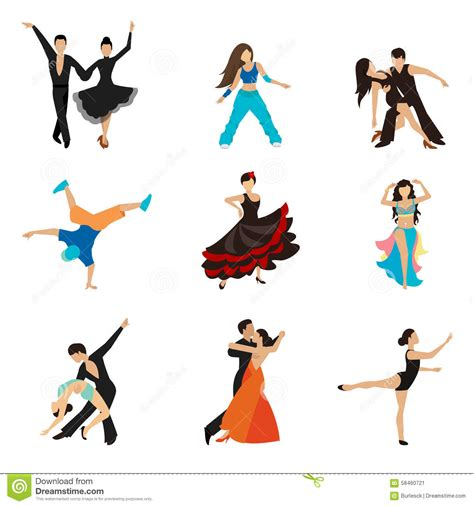 10 types of ladiess dance that are great for dancing styles flat icons set stock vector illustration