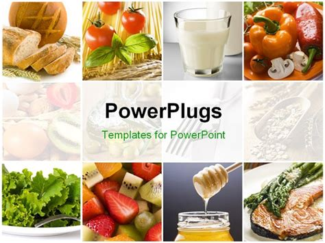 Powerpoint Template Food Collage With Fresh Fruits Vegetables Milk Depicting Healthy Healthy Food Powerpoint Template