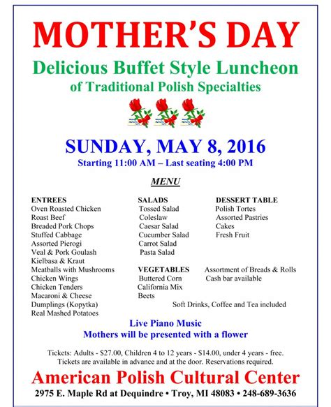 S Day 2016 Mother S Day 2016 Menu